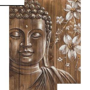 Broderie diamants Bouddha bois avec fleurs 15cm x 20cm