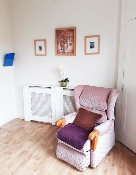 Seating area in a bedroom