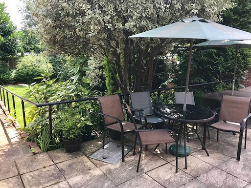Garden patio area with seating