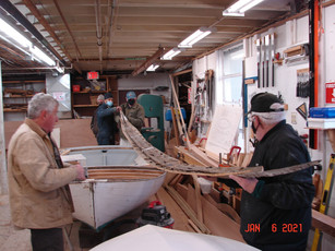Moving the old keel into the shop