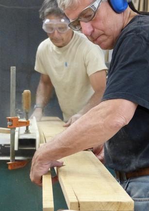 Bill and Tony ripping new white oak ribs