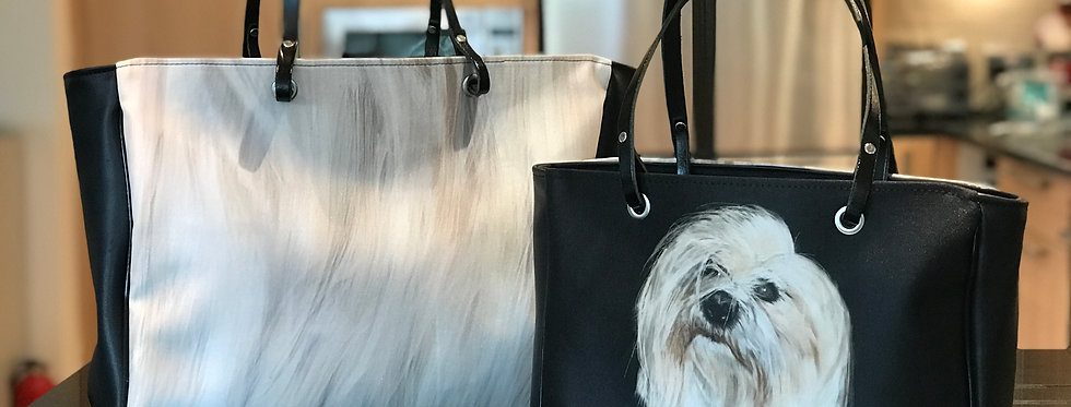 Luxury hand bag personalised with your own pet portrait with or without 'fur'