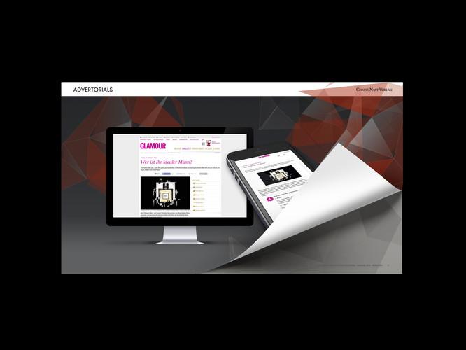 Prösentations-Template für Condé Nast intern. Aufbau verschiedener Folien und deren Hintergründe.