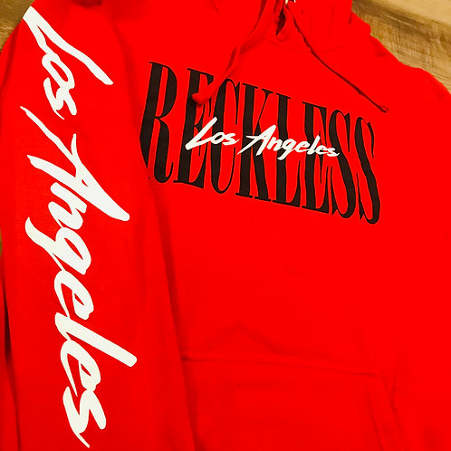 YOUNG & RECKLESS WOMEN'S RED HOODIE