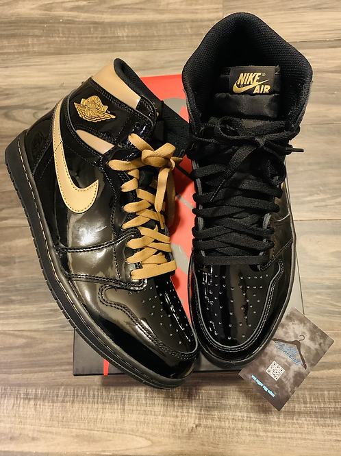 NIKE AIR JORDAN RETRO 1 BLK & GOLD