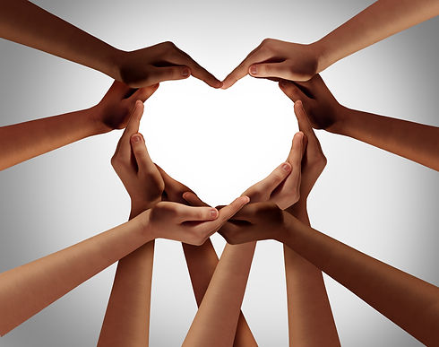 Heart hands as a group of diverse people