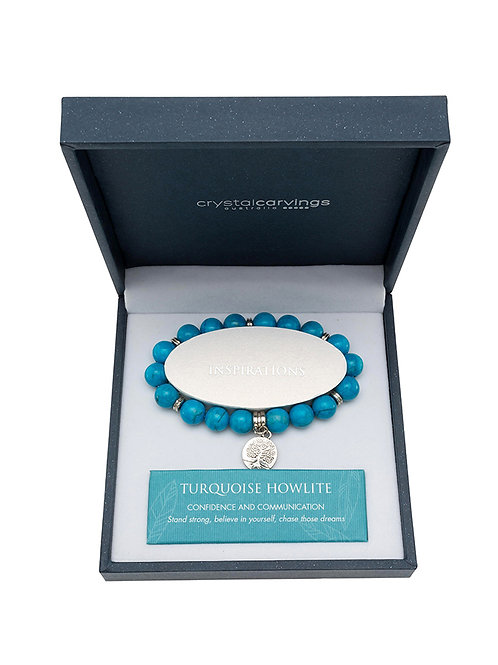 Turquoise Howlite Tree of Life Charm Bracelet Boxed
