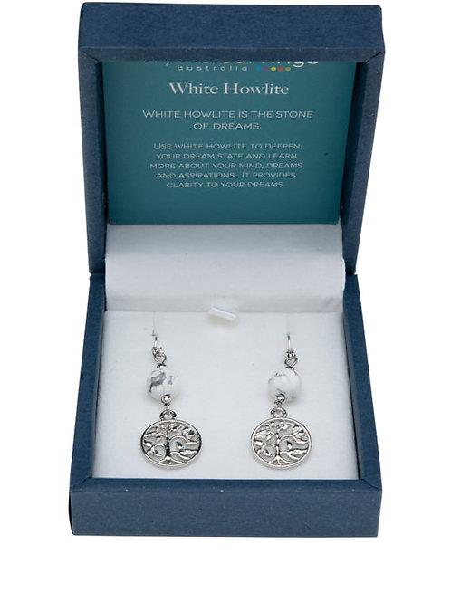 White Howlite Tree of Life Earrings