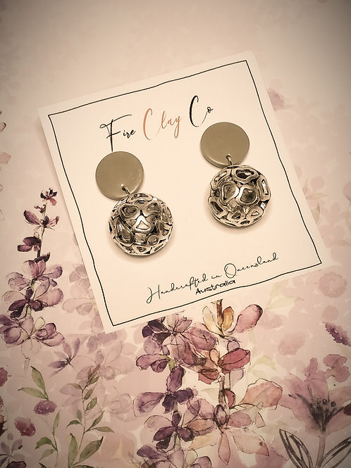 Fire Clay Co Aurora Drop Earrings Taupe
