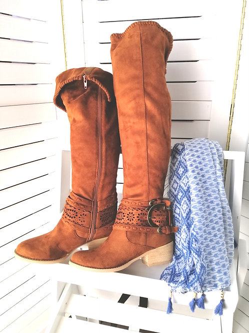 Rusty Knee High Suede Boots