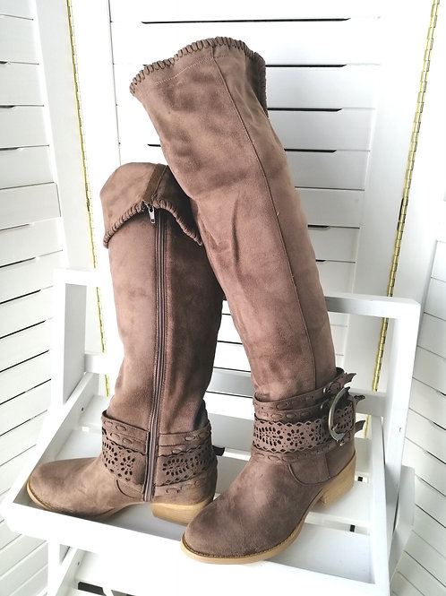 Mocha Knee High Suede Boots