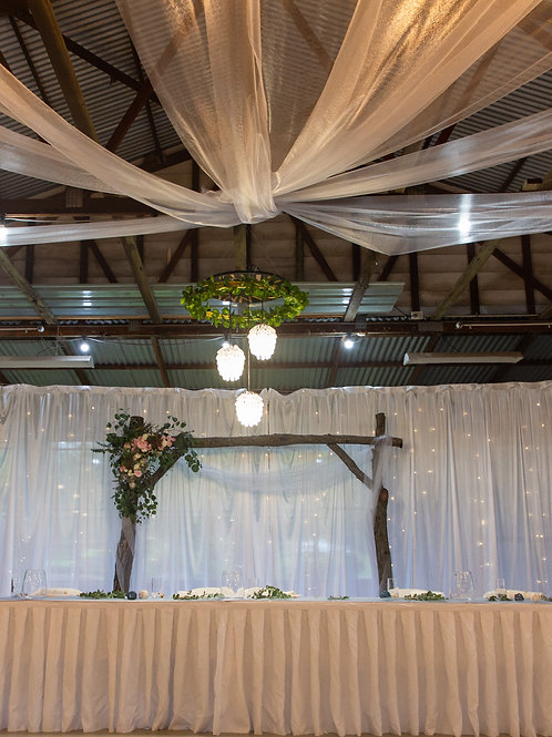 6m Organza Curtains & drop lighting HIRE