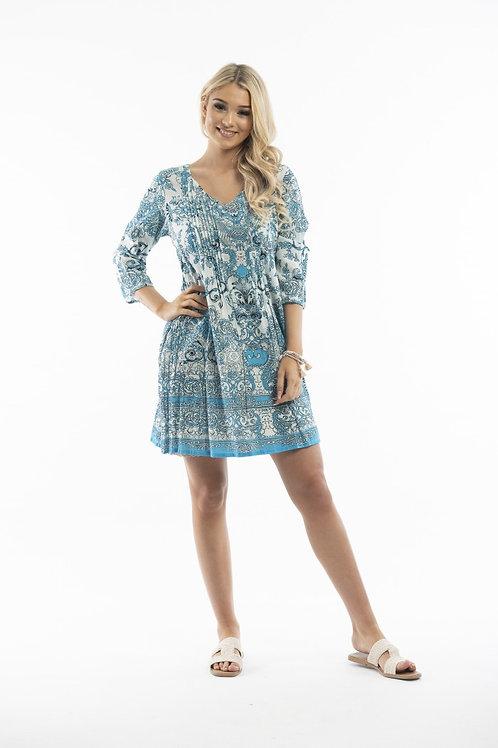 ONE SUMMER ezy fit cotton dress blue