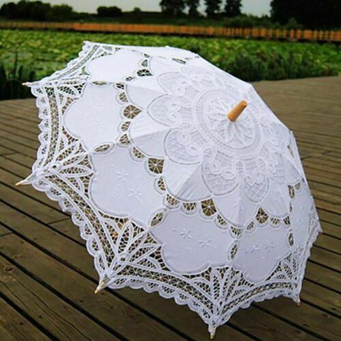 Adult White cotton parasols HIRE