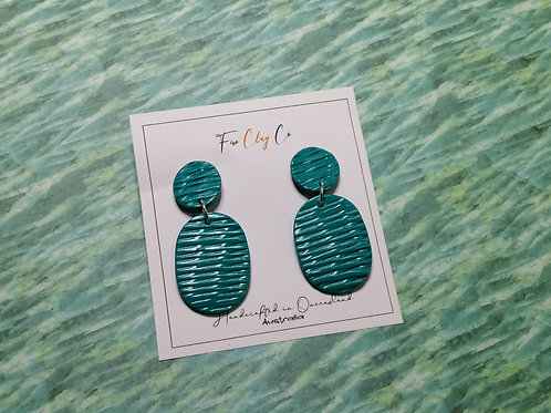 Fire Clay Co Costa Drop Earrings Teal