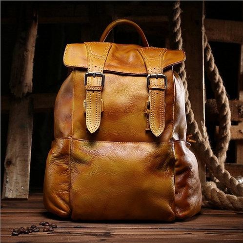 Leather Casual Shoulder Bag Cow Leather Backpack Women Men Bag