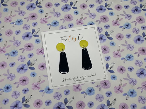 Fire Clay Co Tiggy Drop Earrings Navy and yellow
