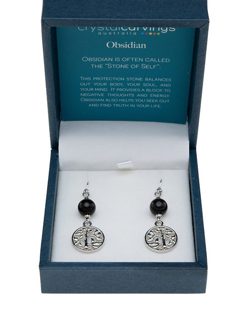 Black Obsidian Tree of Life Earrings
