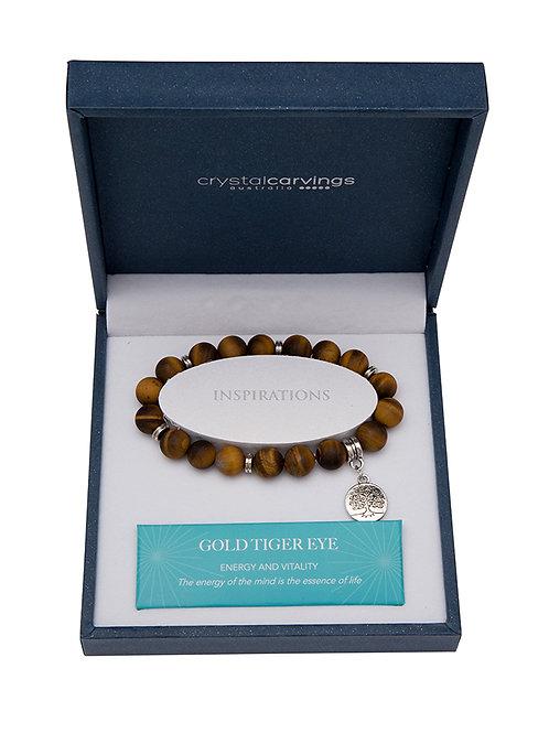 Gold Tiger Eye Matte Tree of Life Charm Bracelet Boxed