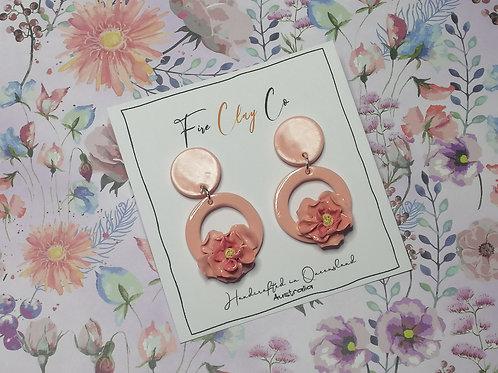 Fire Clay Co Holly Drop Earrings Peach