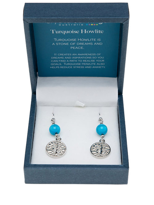 Turquoise Howlite Tree of Life Earrings