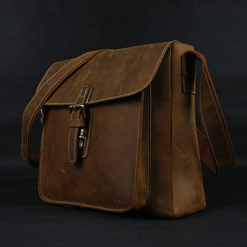 Crazy Horse Leather Men Briefcase Laptop Business Bag Genuine Leather Briefcase