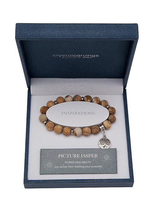 Picture Jasper Matte Tree of Life Charm Bracelet Boxed