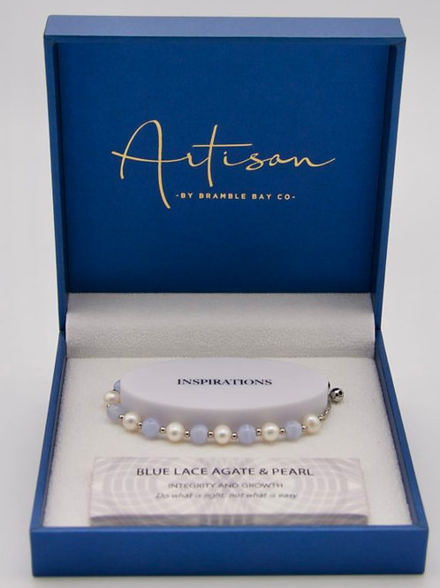 Blue Lace Agate & Pearl adjustable Bracelet
