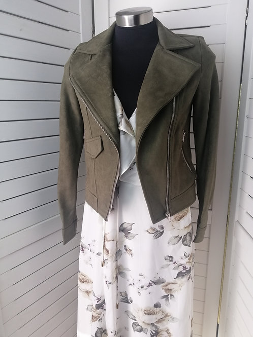AJoy Faux Suede Jacket Khaki