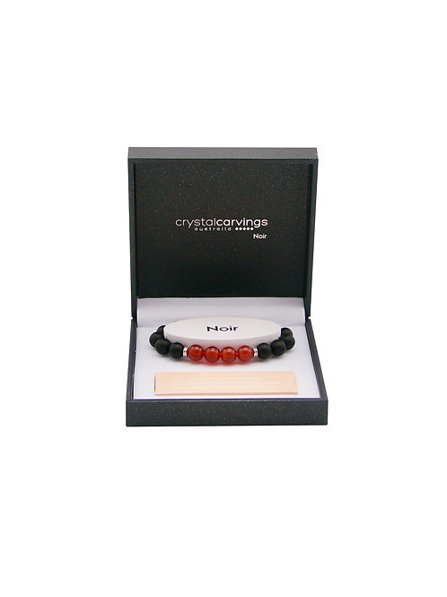 Red Agate & Black Agate Bracelet