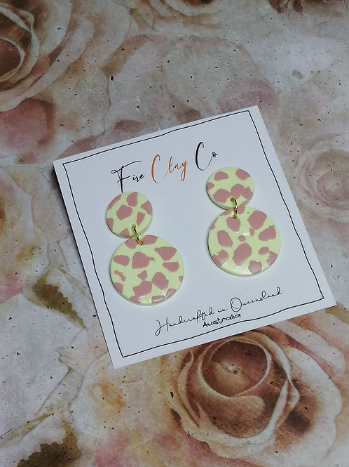 Fire Clay Co Candy Drop Earrings Custard and Pink