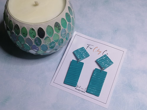 Fire Clay Co Nikki Drop Earrings Teal