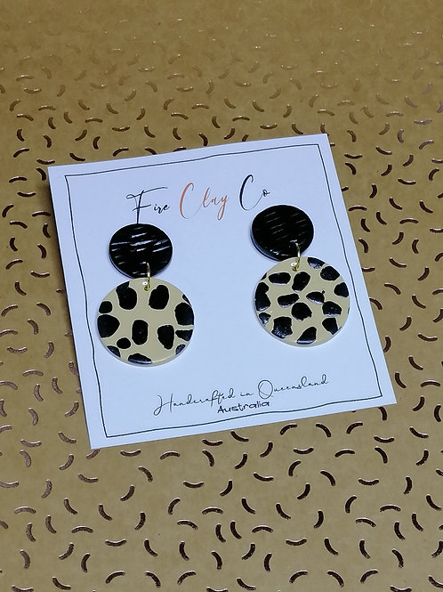 Fire Clay Co Candy Drop Earrings Black and Latte
