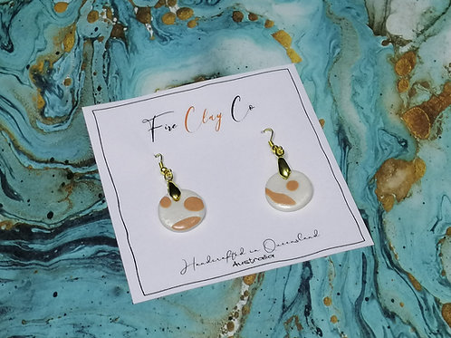 Fire Clay Co Kylie Earrings Latte and White