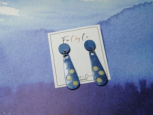Fire Clay Co Dana Drop Earrings Blue Metallic