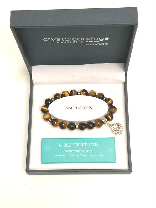 Gold Tiger Eye Tree of Life Charm Bracelet Boxed