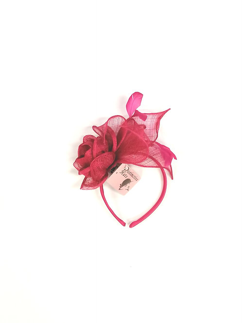 Rose Fascinator Fuschia Pink