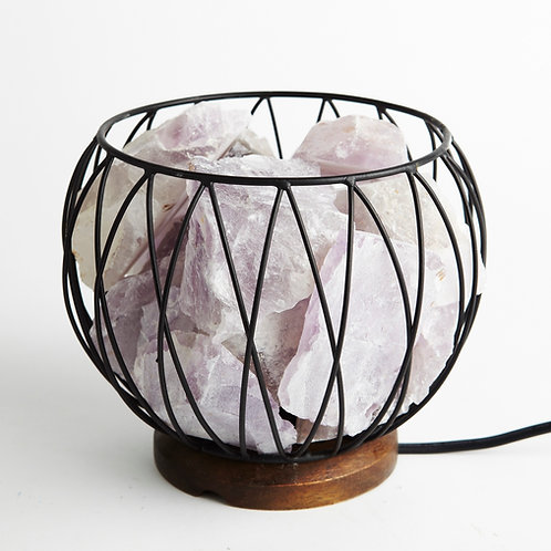 Amethyst Crystal Cage Lamp with 1.3m Black Cord and 15 Watt Globe