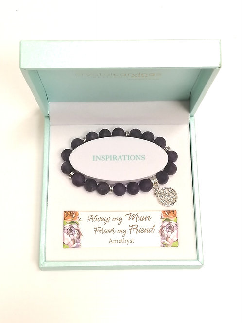 Amethyst Matte Limited Edition Tree of Life Charm Bracelet Boxed