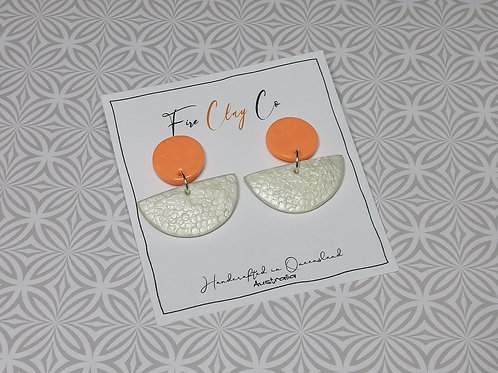 Fire Clay Co Toni Earrings Salmon and White
