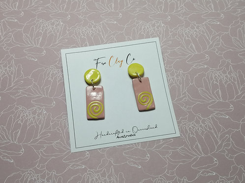Fire Clay Co Flo Drop Earrings Pink and Yellow