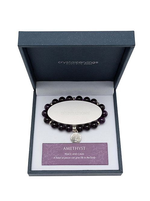 Amethyst Tree of Life Charm Bracelet Boxed