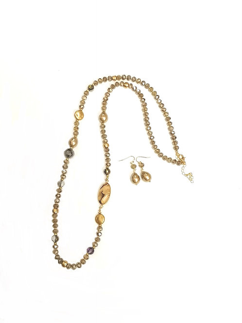 Champagne & gold necklace & earrings set