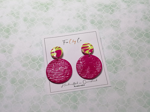 Fire Clay Co Parker Drop Earrings Fuchsia and Lime