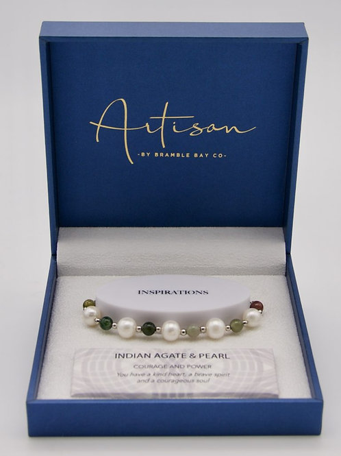 Indian Agate & Pearl adjustable Bracelet