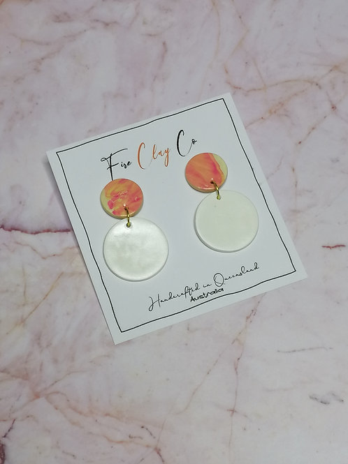 Fire Clay Co Candy Drop Earrings White and Pink