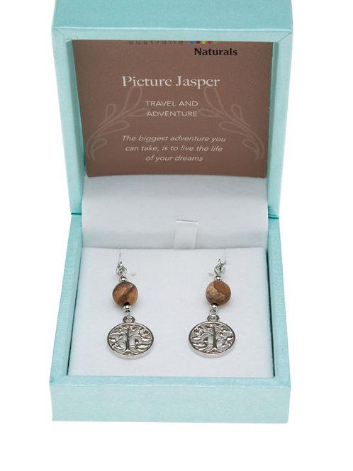 Picture Jasper Tree of Life Earrings