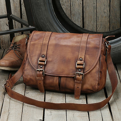 Vintage Genuine Leather Messenger Bag Men Leather Shoulder Bag Men Crossbody Bag