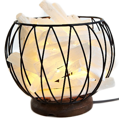 Selenite Crystal Cage - Lamp With 1.3m Black Cord and 15 Watt Globe