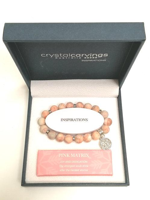 Pink Matrix Matte Tree of Life Charm Bracelet Boxed